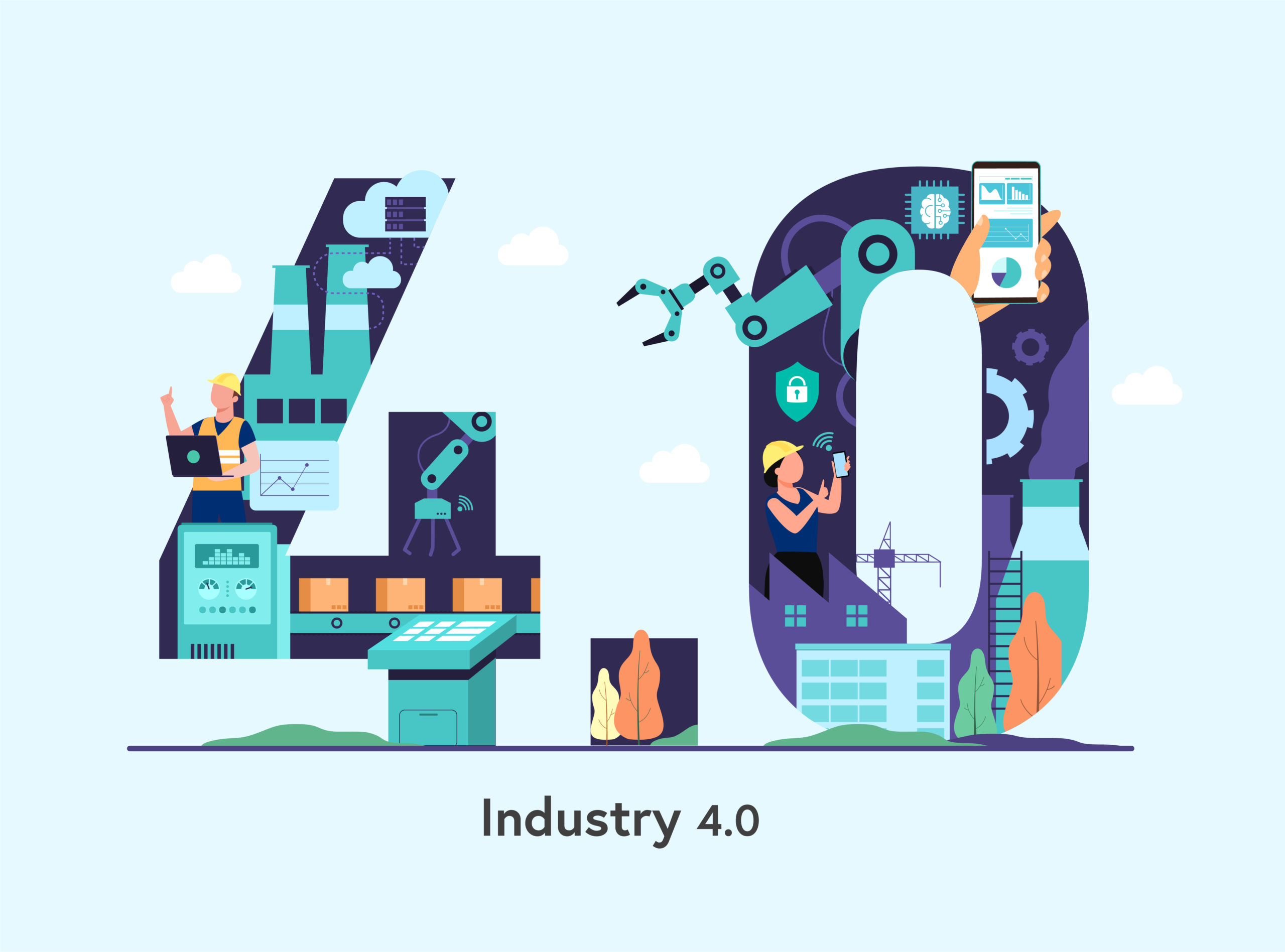Industry 4.0 banner with robotic arm. Smart industrial numeric